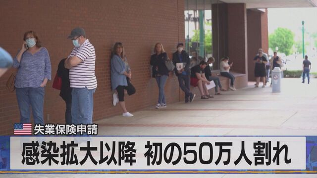 感染拡大以降 初の50万人割れ 米失業保険申請