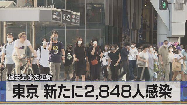 過去最多を更新 東京 新たに2,848人感染