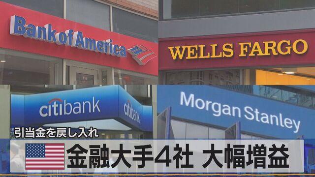引当金を戻し入れ 米 金融大手4社 大幅増益