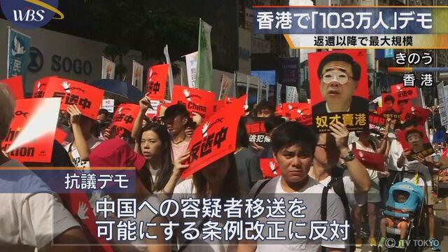ef731016a4 香港で「103万人」デモ 返還以降で最大規模