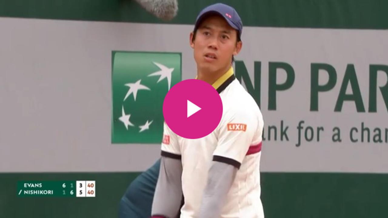 【ハイライト】男子シングルス1回戦 錦織圭vsエバンズ|全仏オープンテニス2020