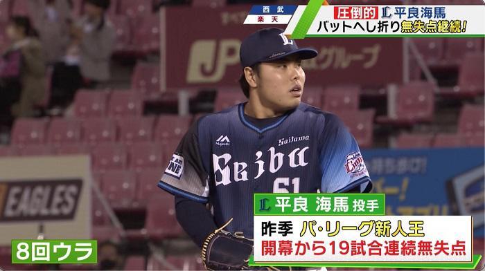 【西武】平良海馬 圧倒的な投球見せる!20試合連続無失点