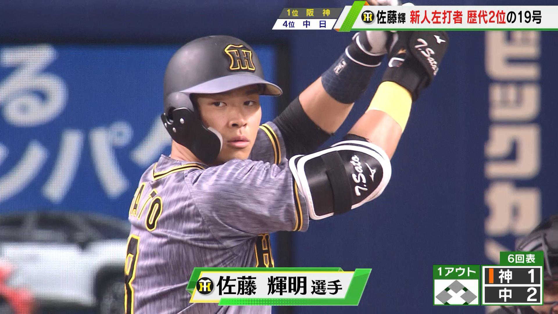 【阪神】佐藤輝明 新人左打者歴代2位の19号