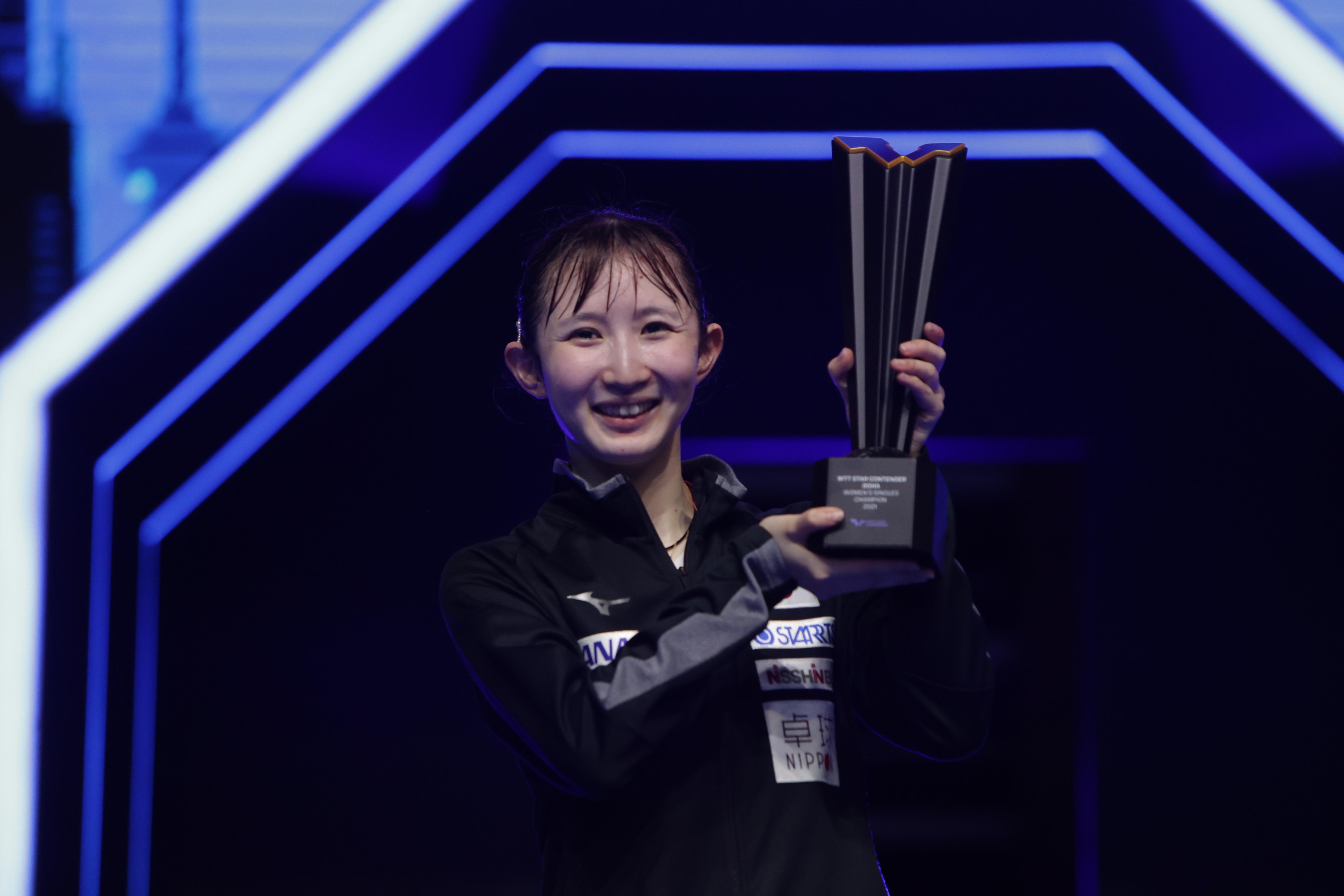 早田ひな 女子シングルスも制す!五輪後初の国際大会派遣で二冠達成【WTT スターコンテンダー ドーハ】