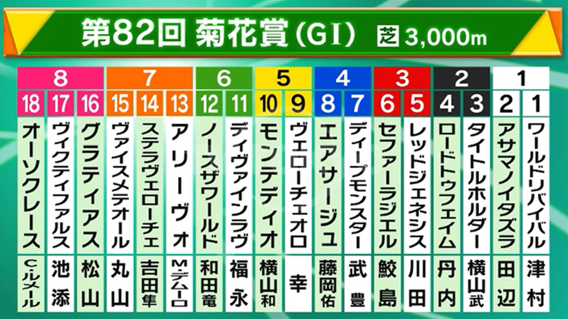 【菊花賞】ステラヴェローチェが4.1倍の1番人気、オーソクレースは4.6倍の2番人気 前日最終オッズ
