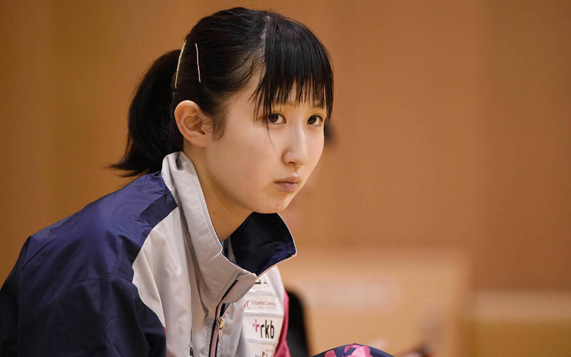 前日練習を行う 早田ひな Photo:Itaru Chiba