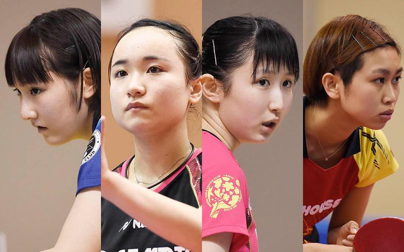 左から加藤美優、伊藤美誠、早田ひな、佐藤瞳 Photo:Itaru Chiba